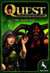 """Titelbild von """"Quest - Der dunkle Kult"""". Eine Halblingdame winkt fröhlich dem Betrachter zu, während im Hintergrund ein grimmiger Dämon erscheint."""