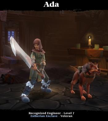 Torchlight 2 - Charakter: Weiblicher Engineer mit einem Wolf als Pet und einem großen Zweihandschwert
