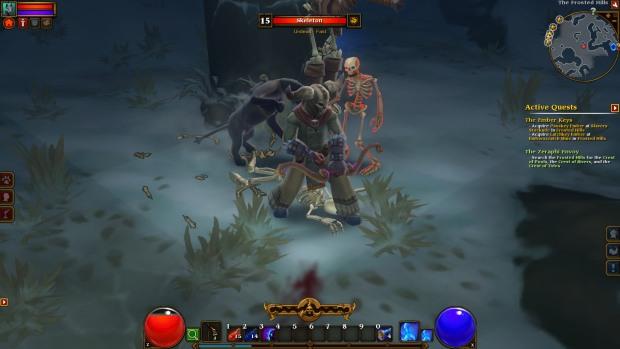 Screenshot aus Torchlight 2, ein Outlander mit Bogen und einer gehörnten Schädelmaske kämpft mit Pfeil und Bogen zusammen mit seinem Tierbegleiter gegen ein wandelndes Skelett