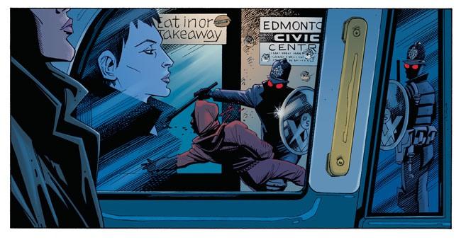 Bild aus Century 2009: Eine Frau sitzt in der U-Bahn, ihr Gesicht spiegelt sich in der Scheibe, aber sie sieht nicht hinaus. Draußen schlagen zwei Männer in futururistischen Bobby-Uniformen mit Schlagstöcken und runden Riot Shields einen Schwarzen zusammen.