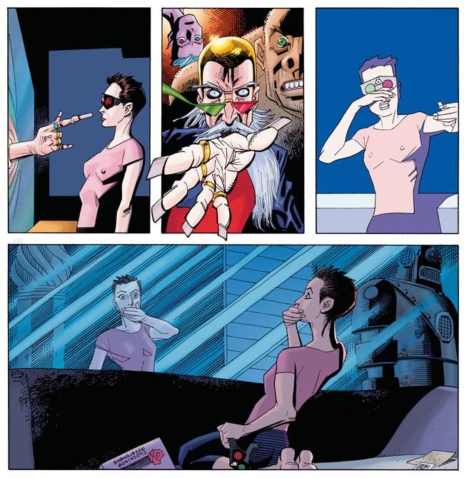 Vier Panels, drei schmale in der ersten Reihe und ein langes in der zweiten. 1. Panel: Einer jungen Frau mit kurzen Haaren und rosa Shirt streckt sich eine knotige Männerhand aus einem Spiegel entgegen. 2. Panel: Im Spiegel sind ein bärtiger Mann der seine Hand ausstreckt, ein affenartiger Hüne und ein adrogyner Kopf, der von oben ins Bild hängt, zu sehen. 3. Panel: Die Frau, die eine altmodische 3D-Brille mit einem roten und einem grünen Glas trägt, weicht erschreckt zurück. 4. langes Panel: Die Frau hat sich die Brille abgenommen, hält sich die Hand vor den Mund und starrt entgeistert auf den jetzt wieder normalen Spiegel.