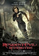Plakat von Resident Evil 5: Milla Jovovich rennt in einem eng geschnittenem Kampfanzug mit einer Pistole in jeder Hand durch Häuserschluchten