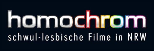 weiße Buchstaben (ein paar davon mit buntem Rand) auf schwarzem Grund: homochrom schwul-lesbische Filme in NRW