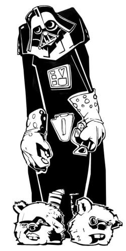 Darth Vader mit Gummihandschuhen und einem Flaschenöffner in der Hand. Er trägt Pantoffeln, die aus den Köpfen von putzigen kleinen Ewoks gefertigt wurden.
