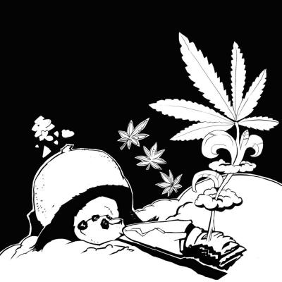 Ein Pandabär liegt auf dem Bauch und raucht einen riesigen Joint. Aus dem Rauch erwächst eine Cannabispflanze.