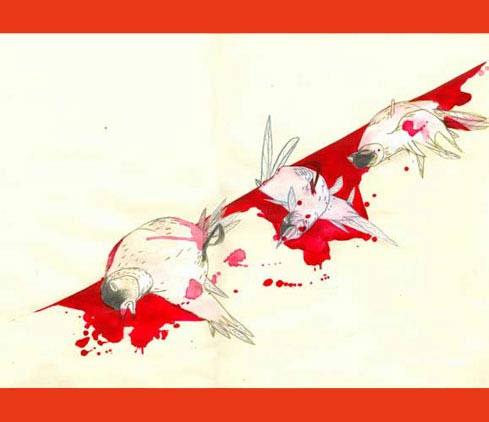 Illustration zum Roman Die Wand von Marlen Haushofer von Christiane Strauss: drei tote Vögel liegen zusammengekrümmt am Fuß einer Wand. Der Boden um sie herum ist blutig, die Wand ist weiß und unbefleckt