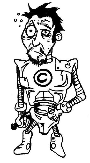Tony Stark als Iron Man, ein bärtiger Schwarzhaariger in einem Anzug aus Eisen, in der rechten Hand hält er eine Flasche und auf seiner Brust prangt ein Copyright-Zeichen