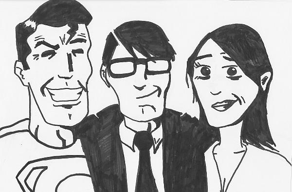 Bild von Lars Banhold: Schwarzweißzeichnung, links Superman mit markantem Kinn und Showstargrinsen, in der Mitte der bebrillte Anzugträger Clark Kent, rechts die schwarzhaarige Lois Lane