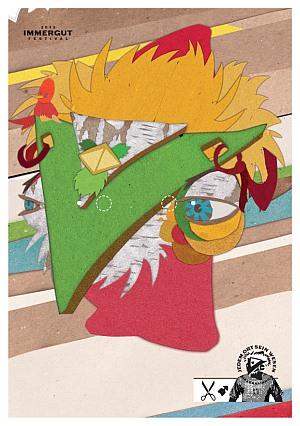 Birkenhainrich, ein Wesen dessen Nase ein großes grünes V ist, während seine gelblichen Federhaare und seine großen Augen an ein Huhn erinnern.