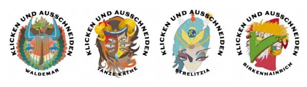 Vier bunte Masken: Der gehörnte Waldemar, die vieläugige Tanze Käthe, die spitznasige Strelitzia und der hahnartige Birkenhainrich
