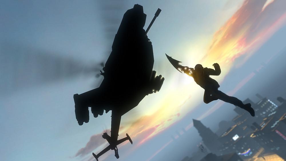 Silhouette eines Helikopters über Skyline, eine menschliche Silhouette springt auf ihn zu, den rechten Arm mit einer überdimensionalen Klinge nach oben ausgestreckt.