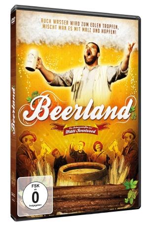 Cover von Beerland: Ein beleibter Mann schwingt einen Humpen, darunter sind bierbrauende Mönche zu sehen.