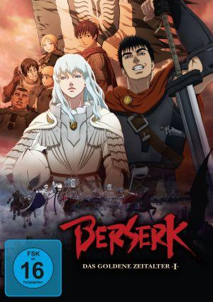 Cover von Berserk: Ein androgyner Mann mit langen weißen Haaren in Ritterrüstung, neben ihm ein schwarzhaariger großer Mann mit rotem Umhang und zweihändigem Schwert.
