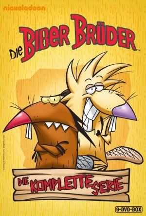 Zwei Zeichentrick-Biber mit spitzen Nasen, einer grinst entspannt, der andere guckt grimmig