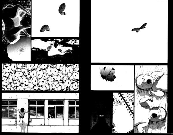 Mehrere Panels: Zwei schreiende Babys, ein dunkler Gang, ein nicht totes Tier ohne Kopf, ein kleiner Junge fällt von einem Schuldach, ein Schmetterling zerfällt in seine Bestandteile.