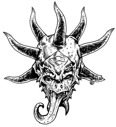 Dämonenfratze mit sieben Hörnern