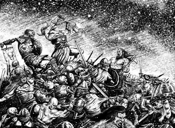 Eine Schlacht zwischen muskelstrotzenden Barbaren und wandelnden Toten im Schneesturm.