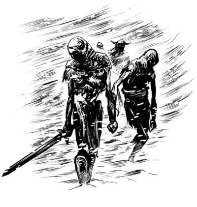 Halb skelettierte untote Gestalten wanken durch einen Schneesturm.