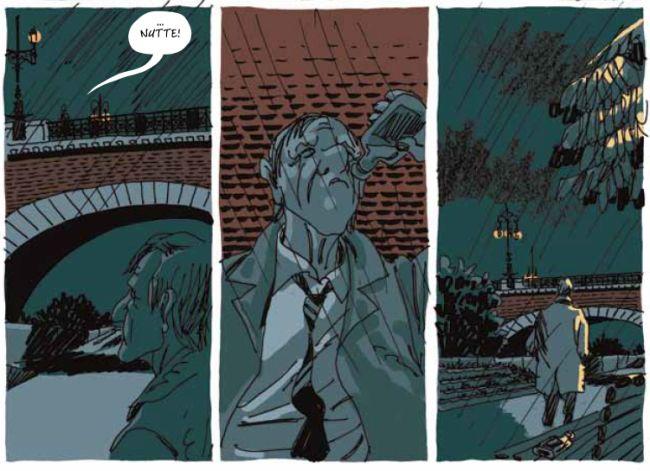 """Drei Panels. Ein Mann schaut hoch auf eine Brücke, oben steht ein weiterer, der """"Nutte!"""" sagt. Der Mann trinkt aus einer Schnapsflasche. Er geht weiter."""