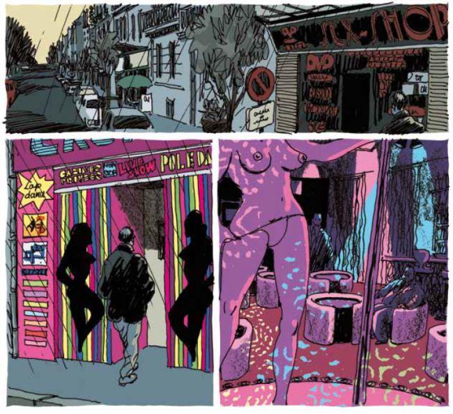 Drei Comic-Panels: Eine verregnete Straße, ein Mann betritt einen Stripclub, eine Frau zieht sich aus, er sitzt im Hintergrund.