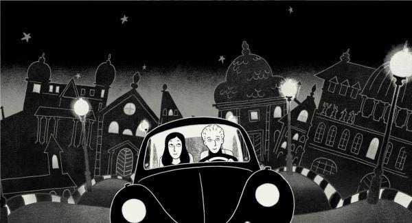 Szenenbild aus Persepolis: Eine schwarzhaarige Frau und ein blonder Mann fahren im Käfer durch eine pittoreske europäische Stadt.