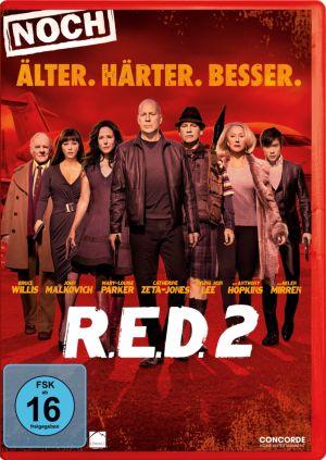 DVD-Cover von R.E.D.2 - Bruce Willis und die Schauspielerriege vor rotem Hintergrund