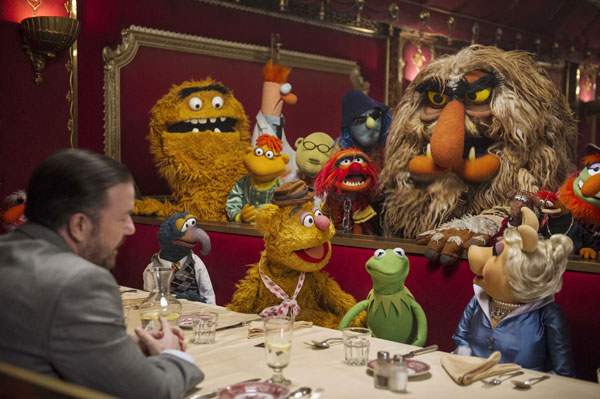 """""""MUPPETS MOST WANTED"""" (Pictured) DOMINIC BADGUY (Ricky Gervais) and THE MUPPETS. Photo by: Jay Maidment. ©2013 Disney Enterprises, Inc. All Rights Reserved."""