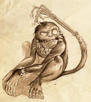 Ein Äffchen mit einer Knochenhand am Ende des Schwanzes.