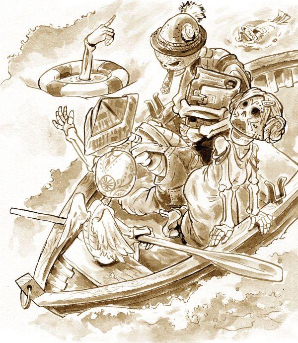 Ein Ruderboot, darin ein Skelett mit Engelsflügeln, eines mit einem Zeitungshut, eines im Kleid mit Doppeldutt und eines mit Gamsbarthut. Neben dem Boot treibt ein Rettungsring, darin ragt eine Knochenhand aus dem Wasser, die mit dem Zeigefinger in eine Richtung weist.