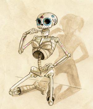 Ein Skelett in verführerischer Pose. Es trägt Schlüpfer und BH, es wirft den Schatten einer attraktiven Frau.