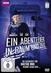 Cover von Ein Abenteuer in Raum und Zeit. Ein alter Mann mit Schal und Hut steht vor einer Polizei-Zelle, an der Seite steht eine Fernsehkamera