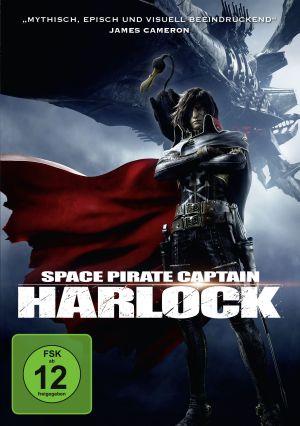 Das Cover von Space Pirate Captain Harlock: Ein Mann mit Augenklappe und wehendem Mantel, auf seiner Schulter ein schwarzer langhalsiger Vogel. Im Hintergrund ein gigantisches Raumschiff.
