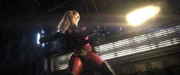 Szenenbild aus Space Pirate Captain Harlock: Eine blonde Frau in einem eng anliegenden roten Bodysuit feuert in einem spärlich erleuchteten Gang mit einem Maschinengewehr.