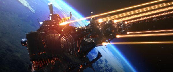 Szenenbild aus Space Pirate Captain Harlock: Ein Raumschiff feuert unzählige Strahlenkanonen ab, dahinter ein blauer Planet.