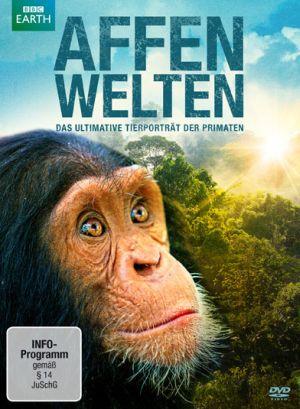 Das Cover der Affenwelten - DVD: Das Gesicht eines Schimpansen vor einem Regenwald, darüber die Sonne