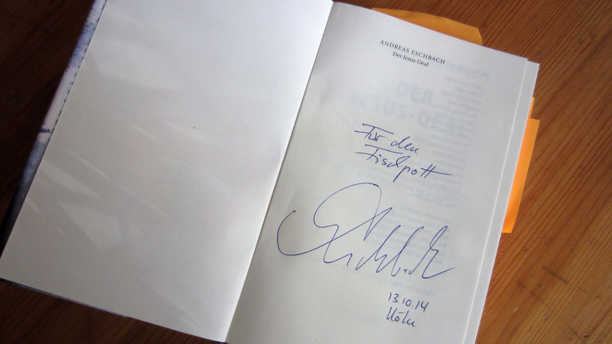 Signatur von Andreas Eschbach im Buch: Für den Fischpott