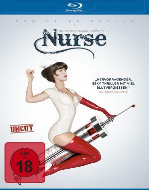 Cover von Nurse: Eine Frau im Krankenschwesternoutfit mit roten Latexstrümpfen sitzt rittlings auf einer überdimensionierten Spritze.