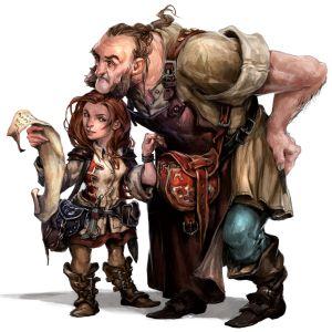 Eine kleine Frau, wahrscheinlich Halbling, greift einem Menschenmann in die Tasche, während sie ihn mit einer Schriftrolle ablenkt.