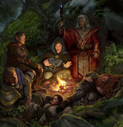 Mehrere Fantasy-Helden wie ein Elfenmagier in roter Robe, ein Zwerg in Rüstung und eine Menschenfrau mit grauem Umhang rasten am Lagerfeuer.