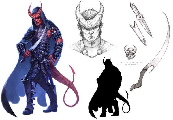 Ein roter gehörnter Humanoider mit Schwanz und schwarzem Umhang. Er trägt eine Lederrüstung und ein langes krummes Messer.