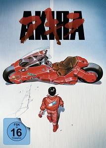 Cover von Akira, ein junger Mann in einem roten Overall geht auf ein rotes Motorrad zu.