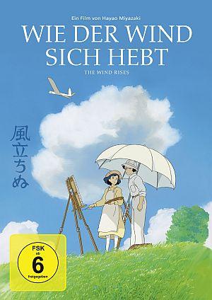 Cover von Wie der Wind sich hebt. Ein Paar in heller Sommerkleidung auf einer grünen Wiese, vor ihnen eine Staffelei, hinter ihnen blauer Himmel mit weißen Wolken und einem weißen Flugzeug.