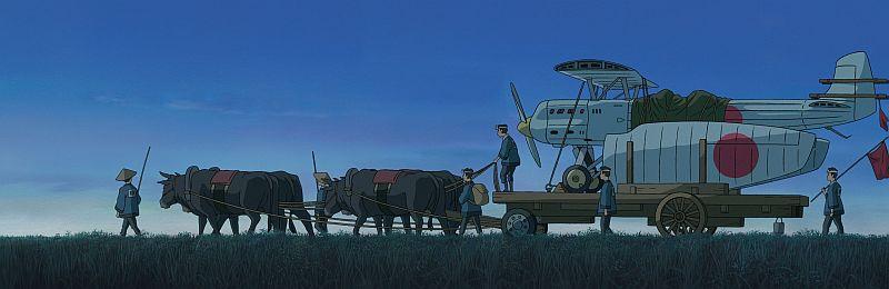 Szenenbild aus Wie der Wind sich hebt. Japanische Bauern transportieren die Zero mit einem Ochsenkarren.