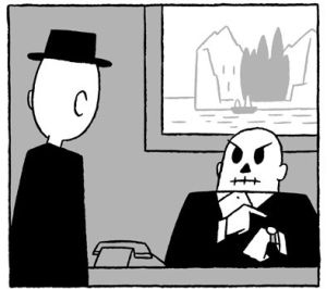 Der Mann im schwarzen Anzug steht vor einem Schreibtisch. Dahinter sitzt ein weiterer Mann mit Schädelgesicht, der in einer ungeduldigen Geste auf seine Armbanduhr deutet. Im Hintergrund hängt das Gemälde der Toteninsel. Von dunklen Zypressen bewachsen rudert ein Nachen mit einer weißen Gestalt auf die Insel zu.
