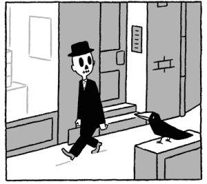 Panel aus Der Anfang nach dem Ende: Ein Mann im schwarzen Anzug mit einem Schädelgesicht geht über den Bürgersteig und schaut einen sitzenden Raben auf einem Kasten an. Ihre Blicke begegnen sich.