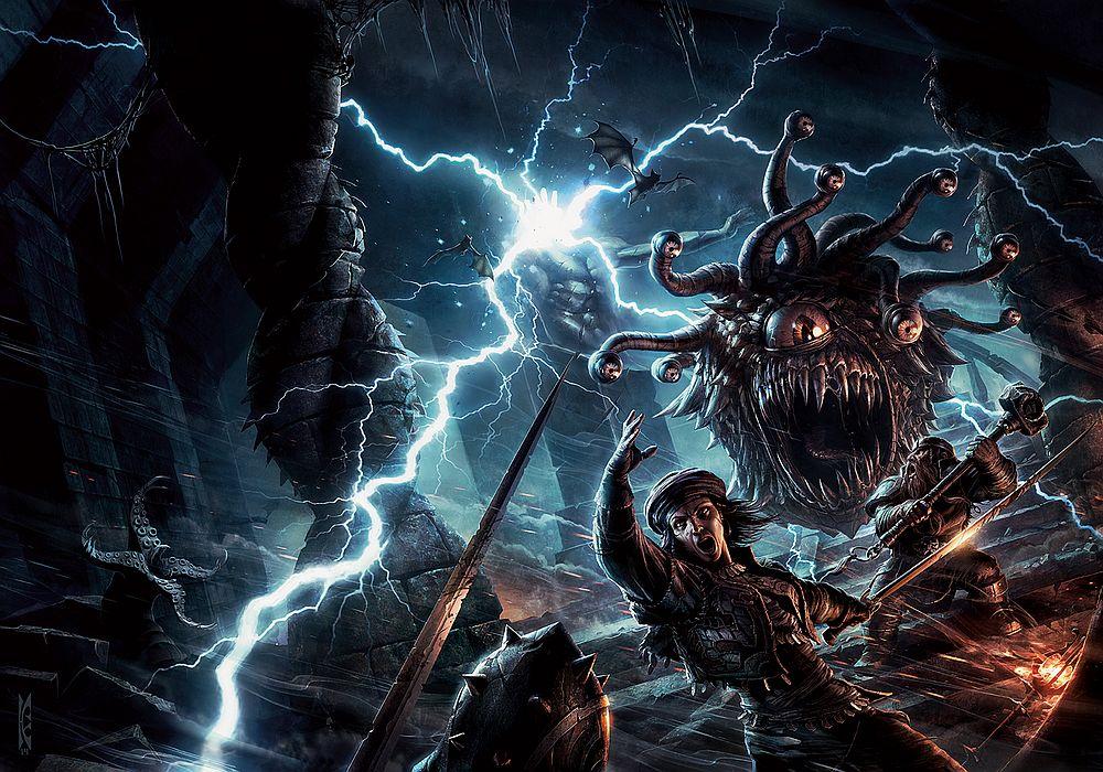 Eine Gruppe aus Kriegern kämpft in einer blitzedurchzuckten Höhle gegen ein schwebendes Monster mit unzähligen Augen.