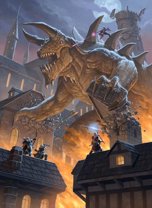 Ein gewaltiges gehörntes Monster trampelt durch eine mittelalterlich anmutende Stadt. Eine Gruppe von Helden nimmt mit Pfeil und Bogen und Magie den Kampf auf.