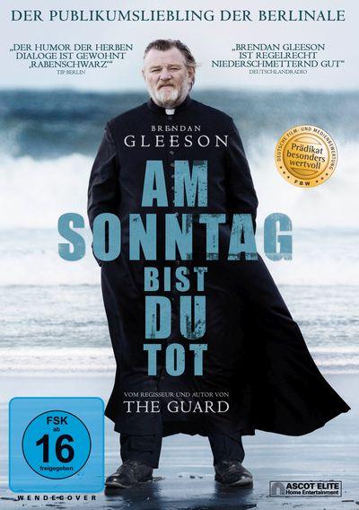 Cover von Am Sonntag bist du tot: Ein massiger bärtiger Mann in Soutane am Strand, über seinem Körper steht der Titelschriftzug in Kreuzform.