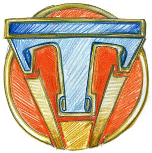 Der Pin aus A World Beyond / Tomorrowland: Der Buchstabe T in blau auf rotem Grund, gestützt von goldenen Rahmen.