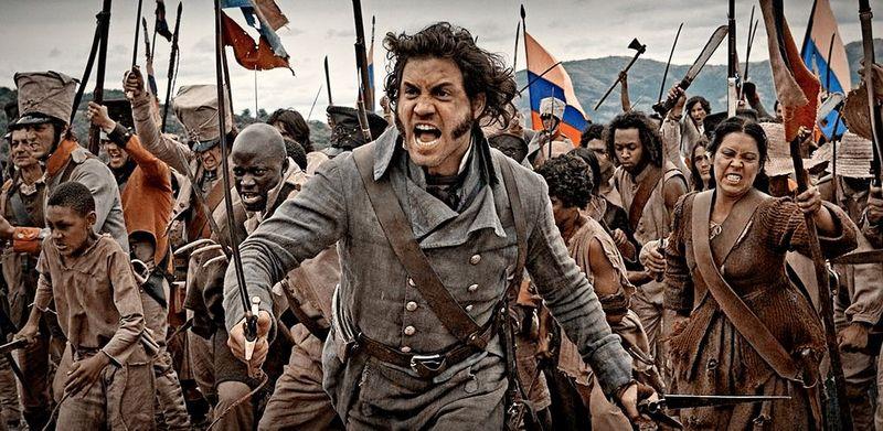 the liberator: Simon Bolivar vor einer wütenden revolutionären Menge